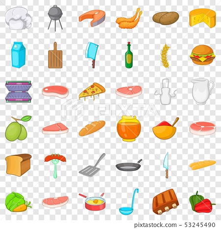 Bbq food icons set, cartoon style 53245490