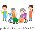 An illustration of caregivers helping a grandfather with a wheelchair 53247121