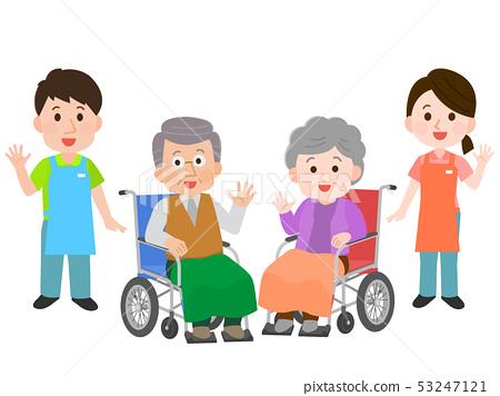 幫助有輪椅的看護者的例證祖父 53247121