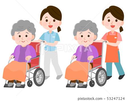 幫助輪椅的一位女性護工的例證一位祖母 53247124