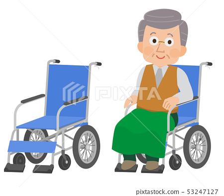 祖父坐在輪椅上 53247127
