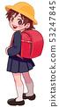 A girl carrying a school bag 53247845