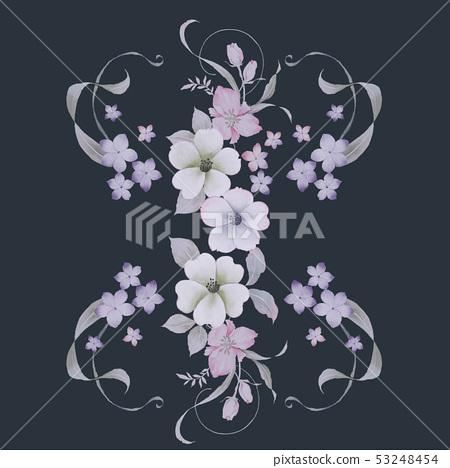 清新的水彩花卉 53248454