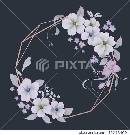 清新的水彩花卉 53248460