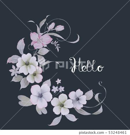 清新的水彩花卉 53248461