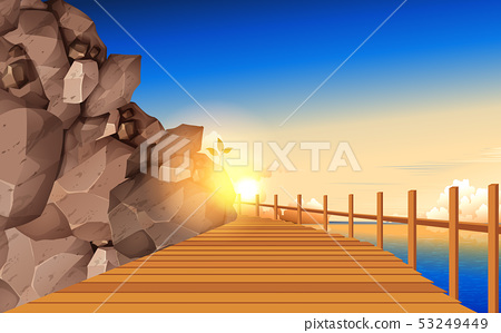 Wooden walkway board at the rocky mountain 53249449