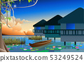 landscape of bungalow in the swamp in sunset 53249524