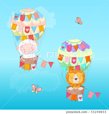Postcard poster of a cute leon and lamb in a balloon with flags in cartoon style. Hand drawing. 53249653