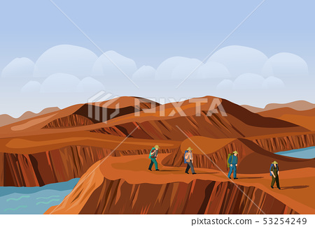 Four tourists are walking on the desert mountain. 53254249