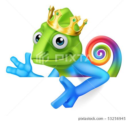 Chameleon King Crown Cartoon Lizard Character 53256945