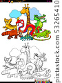 happy animal characters group color book 53265410