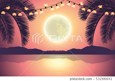 fairy lights on purple paradise palm beach at night with full moon 53266641