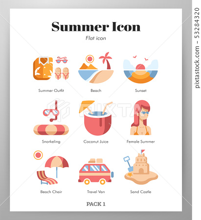 Summer icons Flat pack 53284320