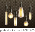 Incandescent light bulbs realistic vector set 53286925