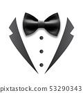 Black Details Of Man Wedding Suit Tuxedo Vector 53290343