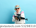 Nice looking grandmother- FBI agent aiming with a rifle, ready to shoot, poster. 53298310