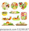Set of images of a variety of foods. Vector illustration on white background. 53299187