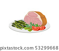 Large piece of ham with herbs and vegetables. Vector illustration on white background. 53299668