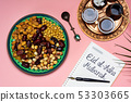 Eid Mubarak note with snacks and coffee 53303665