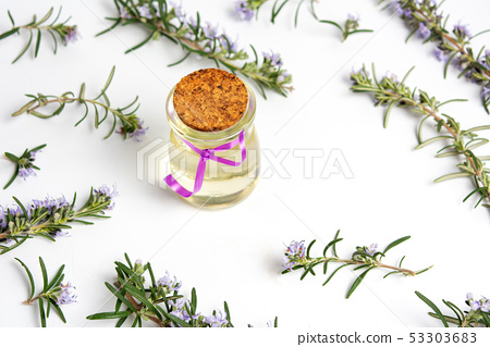 Rosemary oil in a bottle with flower branches 53303683