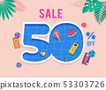 Hot Summer Sale. Vector template with top view on the swimming pool. Background and banner with 53303726