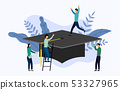 Graduation cap flat style with human concepts 53327965