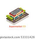 Store Mall Shopping Center Isometric Banner 53331426