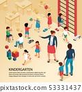 Kindergarten Children Isometric Composition  53331437