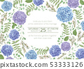 Wreath with flowers and leaves isolated 53333126
