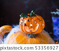 Halloween squash and candle. Spider net 53356927