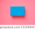 Blue gift box on pink coral background 53356945