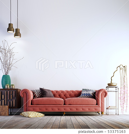 Modern Living Room With Empty White, Living Room Wall