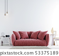 Empty wall in hipster modern interior with white 53375189