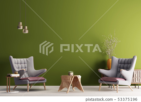 Two armchair in a green color background wall, 53375196