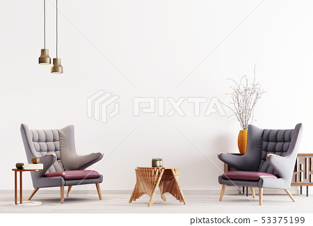 Two modern armchair in a white color background 53375199