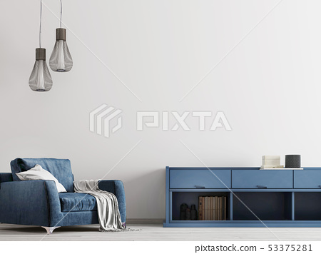 Contemporary interior with blue furniture with 53375281