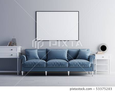 Mockup poster on the wall, luxury living room, 53375283