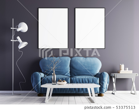 two mock up poster on a purple wall with a blue 53375513