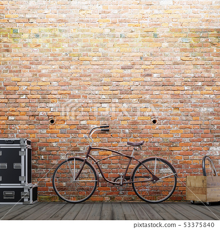 Empty brick wall for mockup with a bike and decor 53375840
