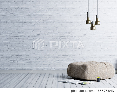 Loft style living room with beige fabric ottoman, 53375843