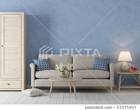 Empty wall for mockup in interior background, 53375847