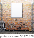 Mock up poster frame on the brick wall with a bike 53375879