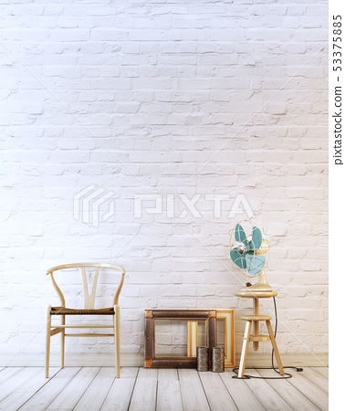 Empty wall with wooden chair and air fan in a 53375885