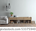 Living room with sofa, lamp and rack 53375940