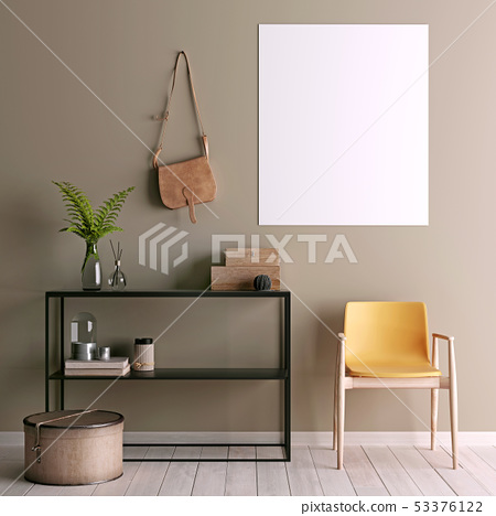 Mock up poster on table in room - 3D render. 53376122