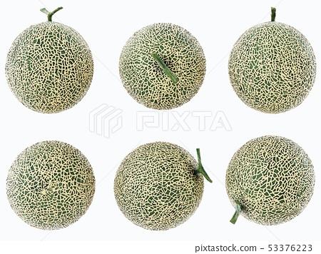 Set Melon , Melon slices isolated on white 53376223