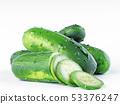 Green fresh cucumbers on a white background. 53376247