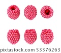 Collection set of fresh ripe raspberries isolated 53376263