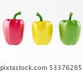 Set of three peppers. Yellow, red and green 53376265