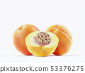 Isolated apricot. Three fresh apricot fruit on 53376275